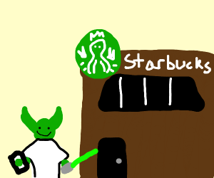 Yoda goes to starbucks