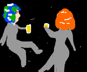 earth and mars chilling drinking beer