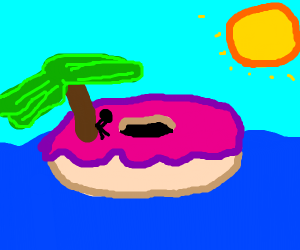 Donut Island with a sun half the size of eart