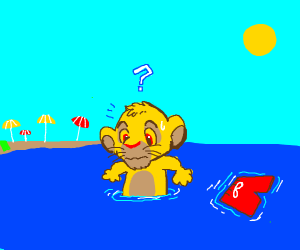 cub Simba loses his swim trunks at the beach