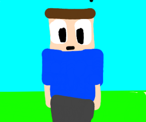 Man in a Minecraft Style