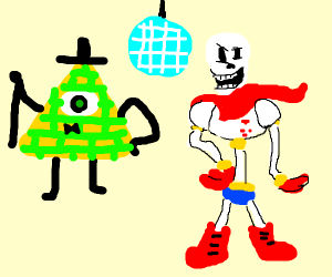 Bill Cipher and Papyrus have a party.