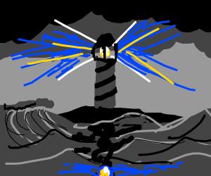 Lighthouse looks over waves (dark)