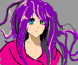 Purple haired two eye colors girl