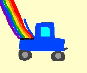 car shooting rainbow streaks out