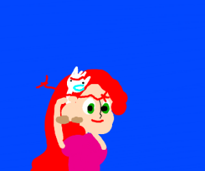 Ariel brushing her hair with Forky
