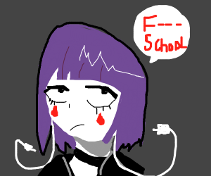 "Anime girl says ""F School"""