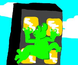 frog man climbing wall