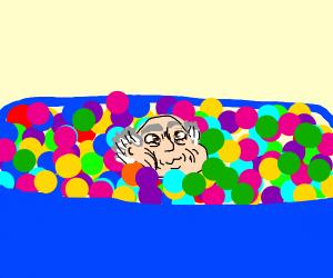 Old man in ballpool
