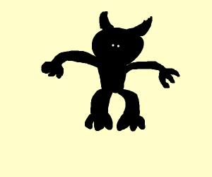 Black monster with no eyes or mouth