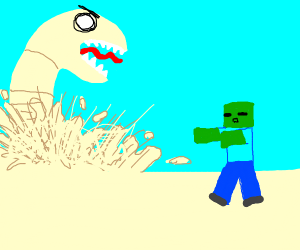 Sandworm about to eat a zombie