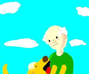 Blushing, balding man