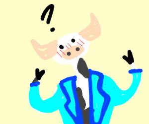 A cow in a dark blue jacket