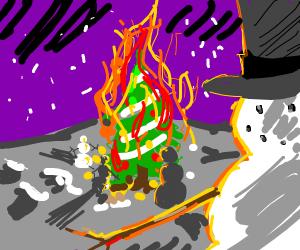 Snowmen sacrifice a christmas tree