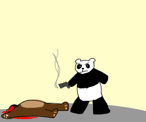 Panda bear murders a teddy bear