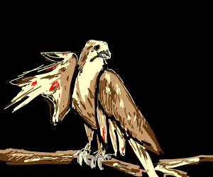 falcon with big claws and bloody wings