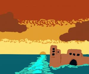Castle sunken in water.
