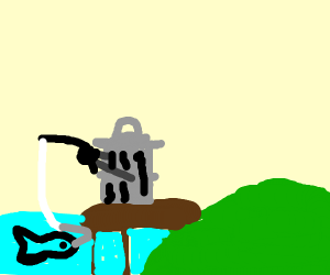 trashcan going fishing