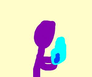 A purple man holds blue fire