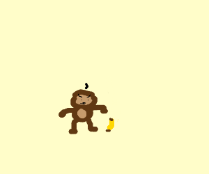 Monkey angry because it got a tiny banana