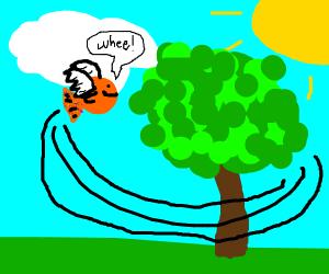 Maigic fish flying around a tree