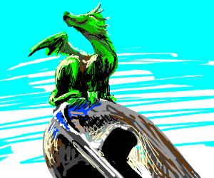 cute triumphant dragon