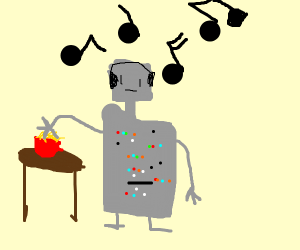 Robot with nachos listens to music