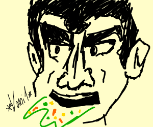 Anime Super Man Vomits Peas, Carrots, and cor