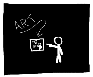 a drawing of a stick man pointing at art