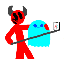demon takes selfie with ghost