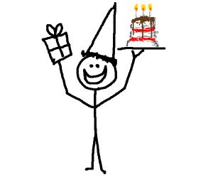 Happy dude celebrating his birthday