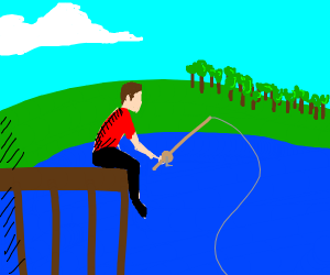 A man sitting at the docks fishing