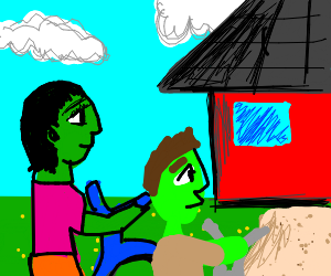 A Green girl and lime guy bike to a house