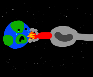 spoon shoots laser at earth