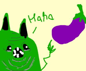 cat laughs at an eggplant