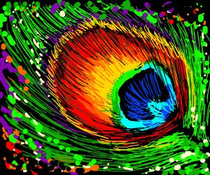 Closeup of a peacock's plume