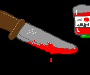 knife with totally ketchup