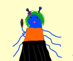 Blue alien girl holding receiver