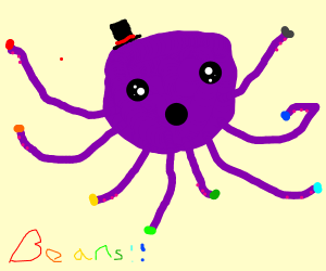 A cute octopus grabbing colored beans.