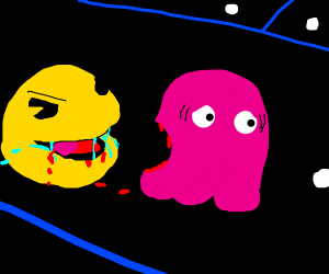 Pac man eats a ghost