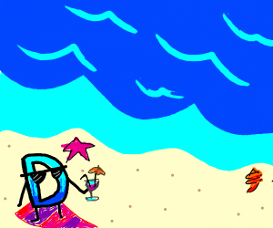 Drawception D enjoys a day at the beach