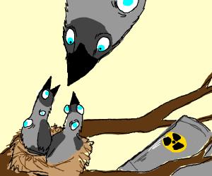bird visits their kids on the wastelands