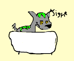 Wolf bathing in green slime