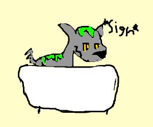 Wolf bathing in green slime