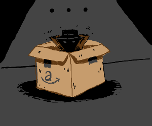sketchy dude in a demonic looking amazon box