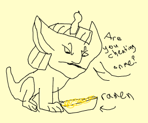Sphinx is suspicious ramen is cheating on it