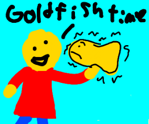 Someone eating a scared goldfish