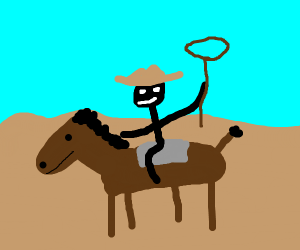 cowboy with lasso riding in the desert