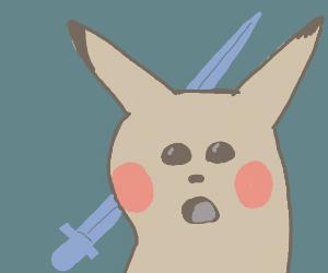 Shocked Pikachu got impaled