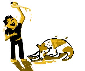 Yellow man laughs when kills rabies dog